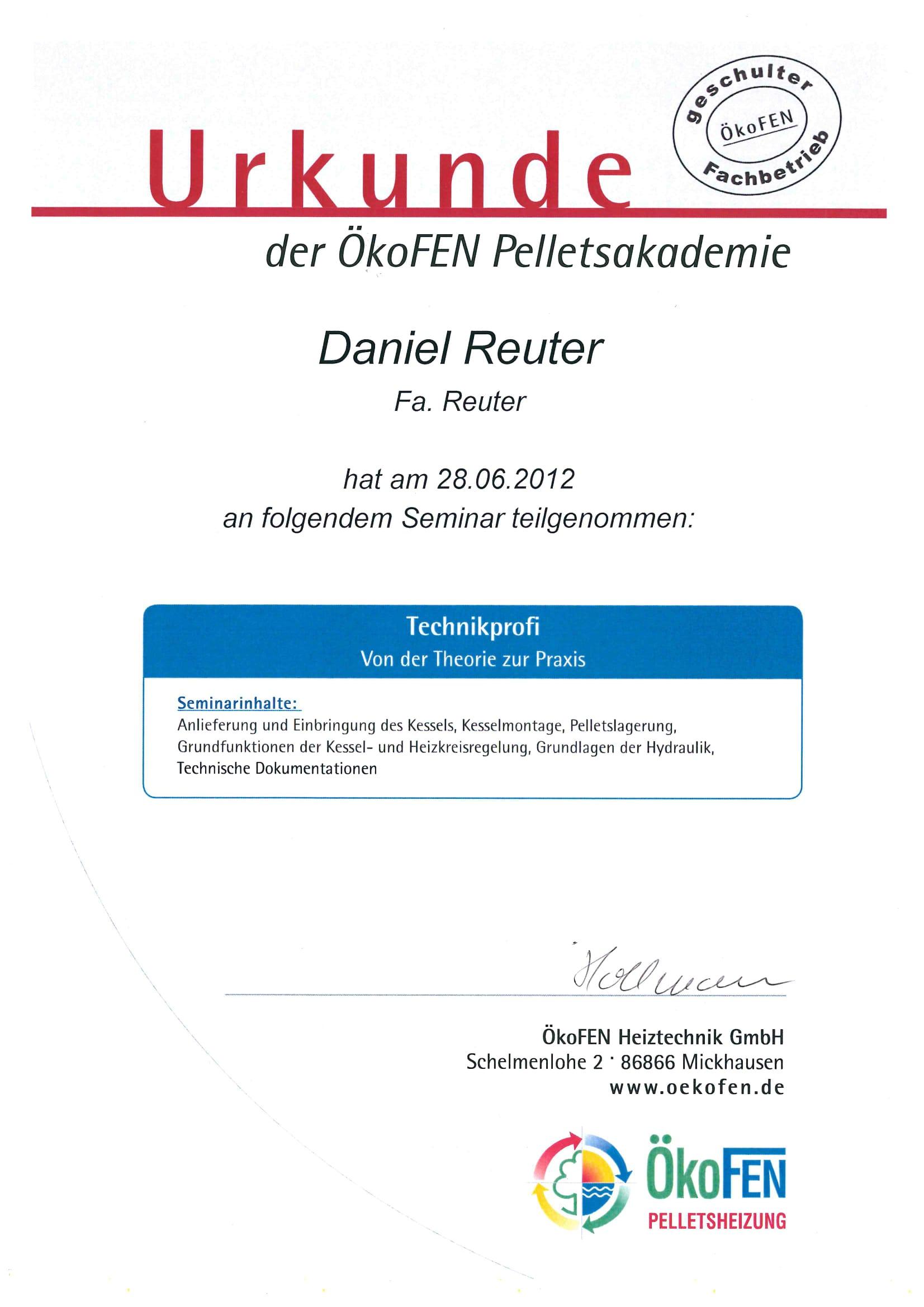 Zertifikate | Daniel Reuter | Sanitär-, Heizung-, Klimatechnik